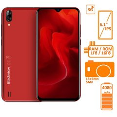Фото: Blackview A60 1/16GB DUALSIM Red OFFICIAL UA